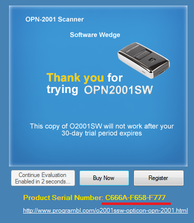 O2001SSW for Opticon OPN-2001 scanners Ver 1.5.5 serial number