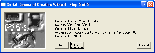 wizard send command to serial device