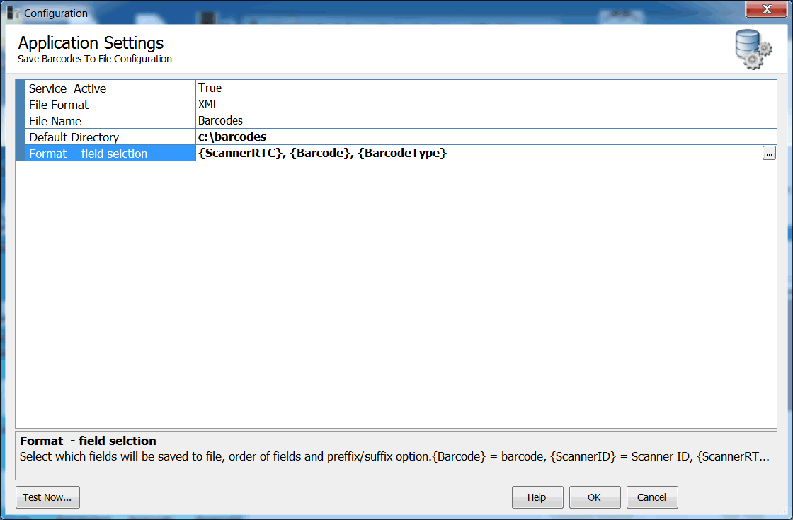 Configure send barcodes as keystrokes (to a specific program)